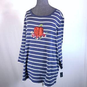Karen Scott Sz 1X Blue Apple Print Knit Top NWT